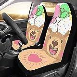 KDU Fashion Auto Seat Cover,Card di Buon Compleanno con Simpatici Animali Best Wish Affascinanti Protezioni per Seggiolino Auto per Conducente di Veicoli 2pcs