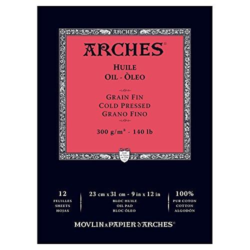 W&N CANVAS/ARCHES COLART 1795108 Arches Oil Cold Pressed PAD 140LB 9X12