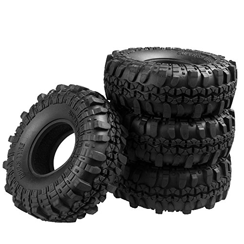XUNJIAJIE 4 Stück 1.9inch 110mm RC Reifen Gummi Pneu Tires Tyre für 1/10 Crawler