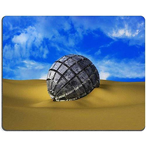 Mousepads reliëf metalen bol in het zand onder de hemel Abstractie Fantasy 34648186