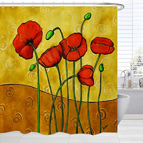BROSHAN Watercolor Flower Shower Curtain,Vintage Floral Printed Retro Poppy Colorful Petal with Buds Elegant Nature Design,Polyester Waterproof Fabric Bathroom Decor Set with Hooks, 72x72 Inch