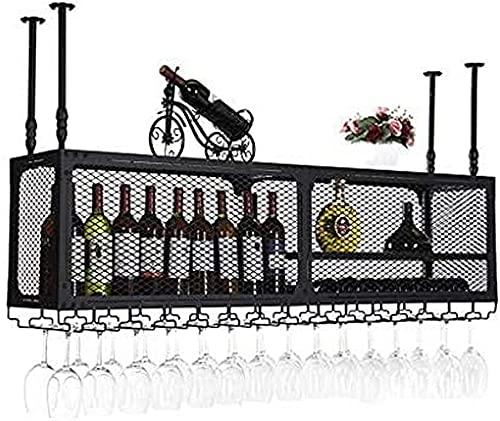SACKDERTY Porta-vinhos Teto Porta-vinhos, Bar, Restaurante, Suspensão, Porta-Copos, 2-Tetos Prateleira suspensa para garrafas de vinho Suporte de armazenamento para garrafas de vinho Prateleiras para