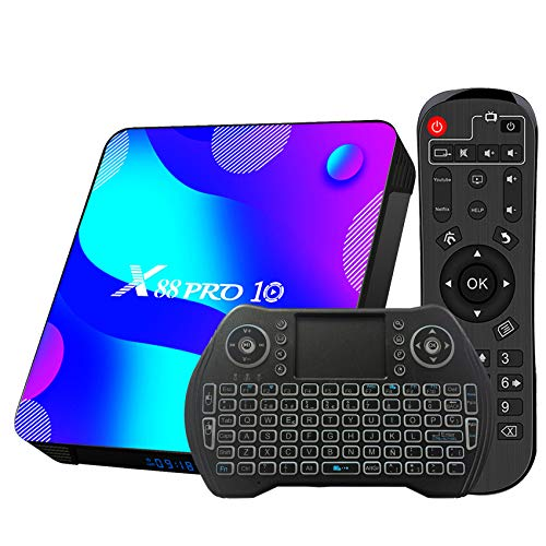 TV Box Android 11.0 4GB 64GB Decodificador Smart TV Box RK3318 USB 3.0 1080P Ultra HD 4K HDR 2.4GHz 5.8GHz BT 4.1 Reproductor Multimedia de Transmisión con Mini Teclado Inalámbrico Retroiluminado