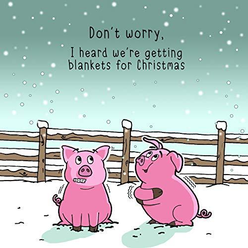 Twizler - Tarjeta de felicitación navideña con cerdos en mantas, tarjeta de felicitación de Navidad, tarjeta de...