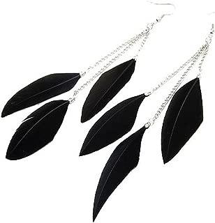Womens Girls Feather Tassel Hook Ear Stud Earrings Fashion Jewelry