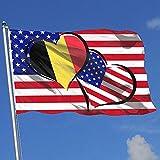 wallxxj Bandera De La Casa Bandera De Bélgica Corazones Bandera De Amor Brisa Bandera De Patio Bandera De Una Sola Capa Bandera De Jardín Bandera De Jardín 150X90Cm