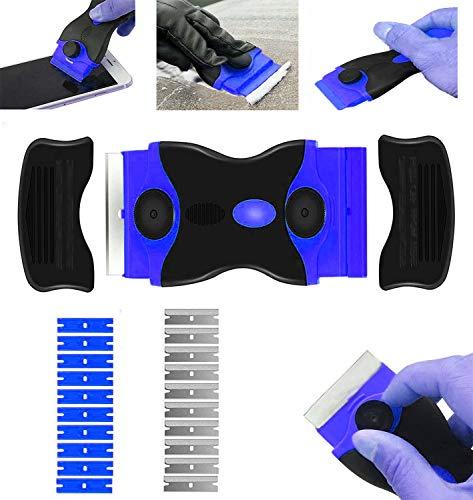 Rasqueta vitroceramica -Raspador Especial para Vitro-Cerámicas y Placas de Inducción- con 10 Piezas Acero Cuchillas Y hoja de plastico (azul)