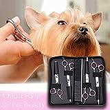 WOLFWILL Edelstahl-Haustier-Haar-Scheren Schneideschere zur Fellpflege für Hunde inkl.Kamm und Tuch-5Pcs - 6