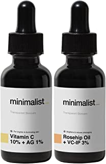 Minimalist Day & Night Face Serums For Glowing Skin | Combo of 10% Vitamin C Face Serum & Rosehip Oil + VCIP Night Serum
