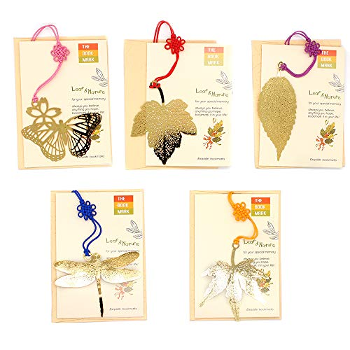 5Pcs Metal Bookmarks with Chinese's Knotting Strap 5 Shapes Vintage Ideal Gift for Adults and Kids (Gold)