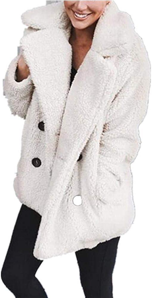 Xuan2Xuan3 Women' Coat Faux Fur Fleece Fuzzy Cardigan Oversized Shearling Bear Fluffy Winter Warm Jacket Outerwear Parka