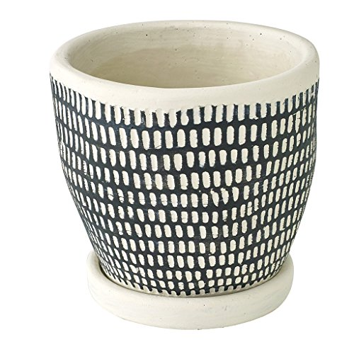 SPICE OF LIFE 植木鉢 レリーフプランター ドットライン ブラック 直径12.5×12cm セメント 底穴あり 皿付き CCGH1820BK