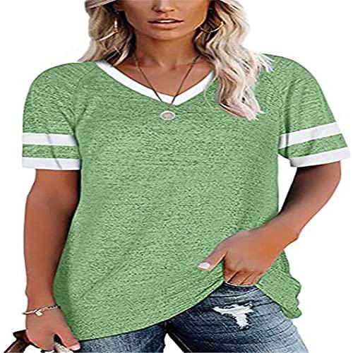 XPDD Summer Casual Stitching Short-Sleeved O-Neck Top Women's T-Shirt Women V Neck T-Shirt Shortsleeve Summer Tops Casual Loose Tee Womens Short Sleeve T-Shirt Ladies Baseball T-Shirt Casual Tee