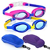 Kids Swimming Goggles, Pack of 2 Swim Goggles for Boys Girls Kid Age 2-10 Child Colorful Swim Goggles Clear Vision Anti Fog UV Protection No Leak Soft Silicone Nose Bridge Protection Case Kids Goggles