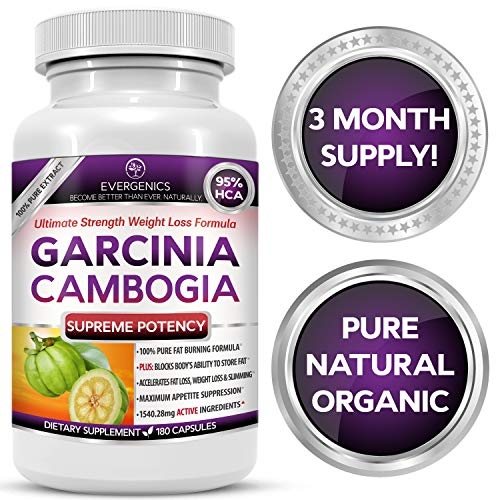 Evergenics Organic Garcinia Cambogia Extract. Fast, Natural Weight Loss for Adults. 3 Month Supply, 180 Capsules. Ultimate Strength 95% HCA Burns Fat, Boosts Metabolism and Controls Appetite.