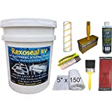 Rexoseal RV Roof Restoration Kit for RV's up to 40' Long - Waterproofing and Protective RV Roof Coating Sealant - White, 5 Gallon