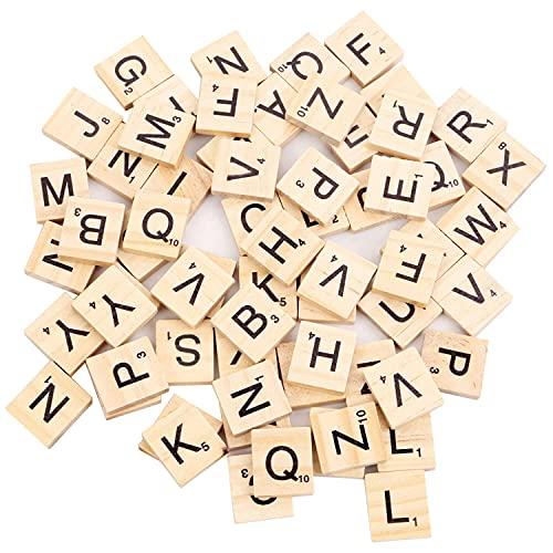 Beyond Dreams 100 Scrabble Holz-Buchstaben 2 cm x 1.8 cm - Ersatz - Zubehör - Set zum Spielen Lesen Schreiben Basteln Handwerk - Alphabet