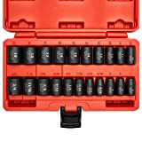 """Neiko 02432A 3/8"""" Drive SAE and Metric Impact Socket Set   21 Pieces   SAE 5/16"""" to 3/4""""   Metric 7mm to 19mm   Premium Cr-V Steel   6-Point Hex Design   Black Phosphate Coating"""