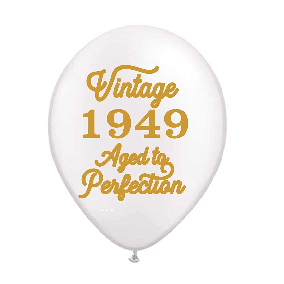 Vintage 1949 White Balloons - 60th Birthday Balloons - Set of 3-70th Birthday Decorations White and Gold -60th Birthday Party Balloons