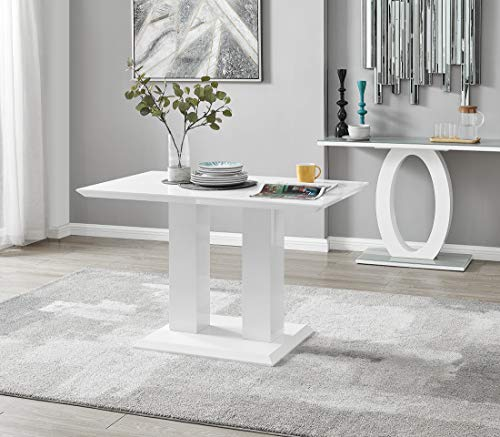 Furniturebox UK Imperia White High Gloss 4 Seater Dining Table. (Modern Contemporary Dining Table With 2 Pillar Base) - Table Only