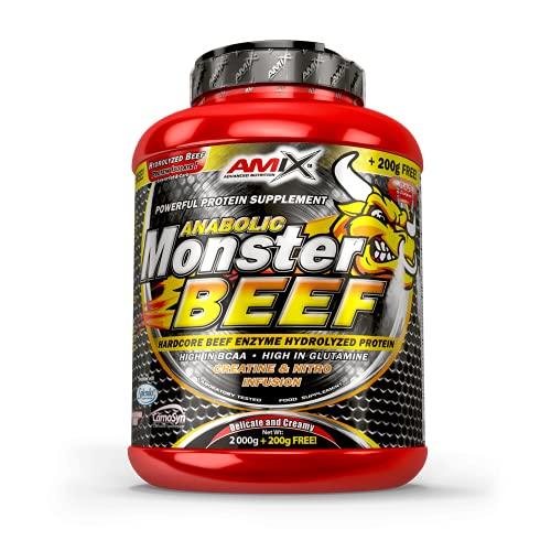 Amix - Monster Beef Protein - Suplemento Alimenticio - Mejora del Rendimiento - Proteína de Suero - Glutamina en Polvo - Nutrición - Proteína de Ternera - Sabor Fresa & Plátano - Bote de 2 Kg