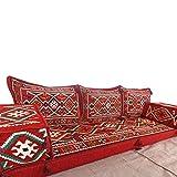 Spirit Home Interiors Handgefertigte Boden Sofa-Set, orientalische sitzecke, arabische Majlis, arabische Jalsa, Boden Sitzcouch, Boden Kissen, orientalischen Boden Sitzgelegenheiten, Hookah Bar Möbel