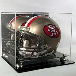 Helmet Display Case Football Helmet Acrylic Case Full Size Helmet Case Black Acrylic Base Gold Risers Mirror Back P368