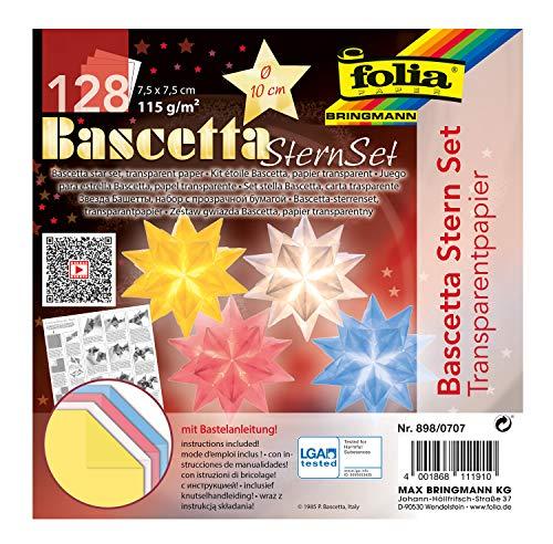 folia 898/0707 - Bastelset Bascetta Stern, aus Transparentpapier für 4 Sterne, 7,5 x 7,5 cm, 4 x 32 Blatt, fertige Größe der Papiersterne ca. 10 cm, mit Anleitung, zur zeitlosen Dekoration