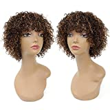Short Curly Wigs with Bangs, Human Hair Wigs for Black Women, 150% Density Highlight Color Brown Mix Auburn Regular Wig, Machine Made Glueless Wig for African American Women