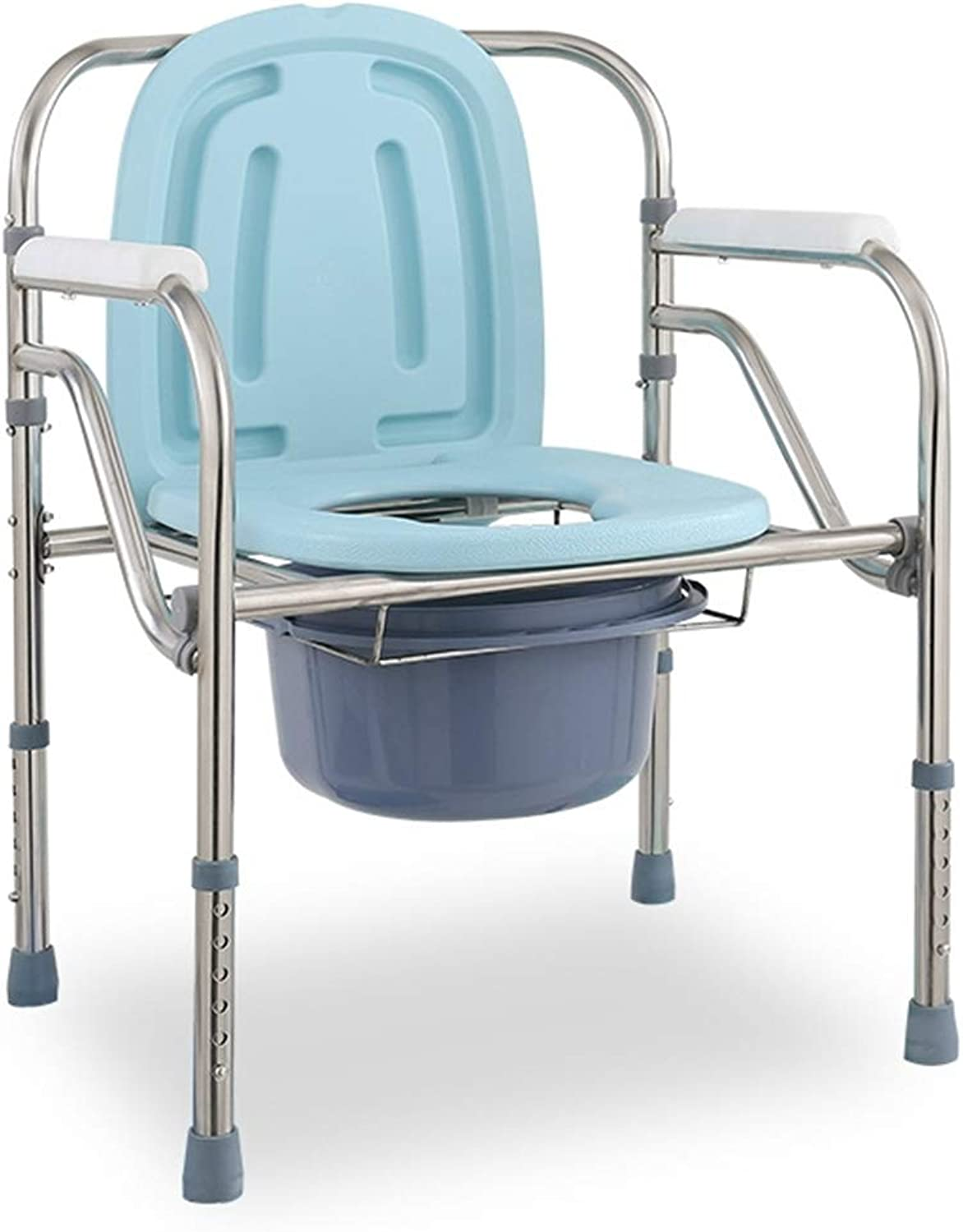 CAIJUN Chair Multifunction Stainless Steel Frame Foldable Assembly Waterproof Non-Slip, 5 Height Adjustments (color   bluee, Size   B)