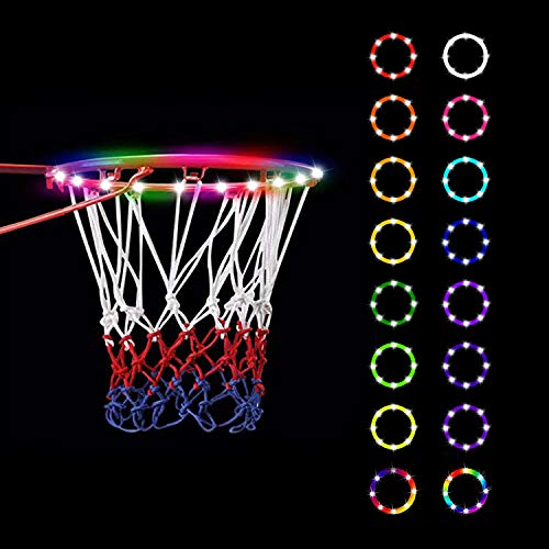 Led Basketball Hoop Lights,Remote Control Basketball Rim LED Light,Super Led Light with 8 Models,Waterproof,Super Bright to Play at Night Outdoors,Good Gift for Kids Training and Playing at Night