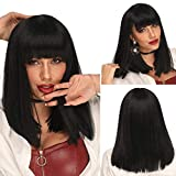 Ebingoo Short Bob SyntheticWigs with Bangs for Black Women Black Silky Straight Shoulder Length Heat Resistant Wig for Cosplay or Daily Wear 14 Inches