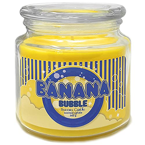 Bacana Candle - Candela Profumata in Vetro - Candela Aromatica in Vaso di Vetro con Coperchio - Candela Originale per un Regalo - 560 Grammi, 80 - 110 Ore di Combustione - Banana Bubble