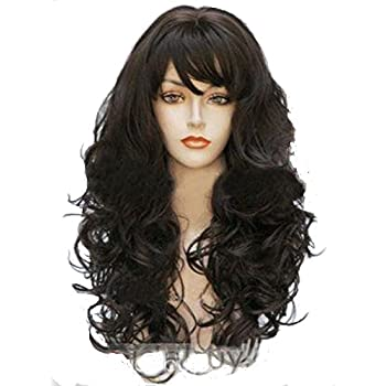 Wigbuy Wigs Wavy Curly 24inche Synthetic Wigs With Bangs Brown Long Hair Wigs for Women (Dark Brown)