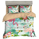 Stillshine Europe Parures de lit 3D Animal Toucan Perroquet Flamingo Tropicale Plante Feuilles Fleur Housse de Couette et Taies d'oreiller Polyester Soft Fermeture éclair (Flamingo,140x200 cm)
