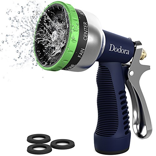 Dodora Garden Hose Nozzle Spray Nozzle Heavy Duty Metal Hand Hose Sprayer High Pressure with 9 Adjustable Patterns for Watering Plants, Cleaning, Car Wash and Showering Dog & Pets