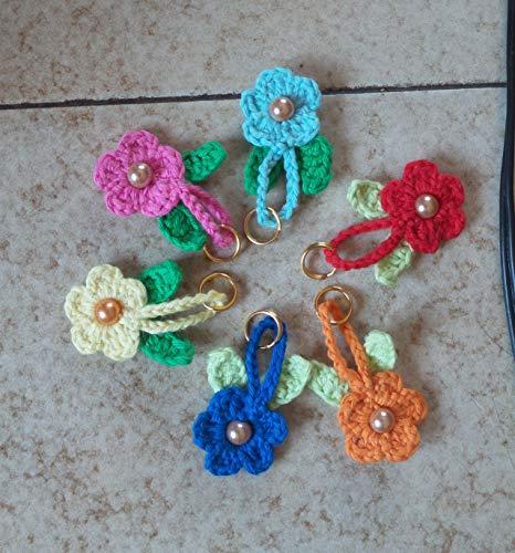 Amigurumi Schlüsselanhänger gehäkelte Blume; Keychain crocheted Flower