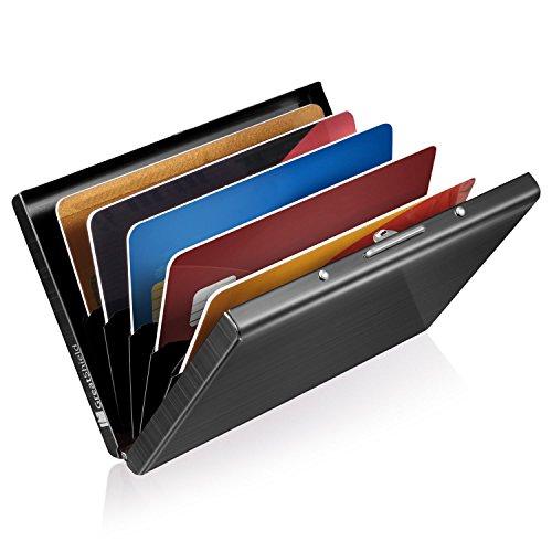 GreatShield RFID Blocking Karten Halter (Aluminium / Identität Protection) Visitenkarten Tasche / Karten Mappe / Börse / Card Holder / Beutel (Slots) für Frau / Mann - Schwarz