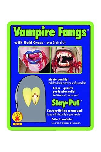 denti o canini da vampiro dracula + di 14 anni con pasta bicomponente per metterli ATTENZIONE la resa dipende fortemente dalla messa in opera e dalla forma del dente