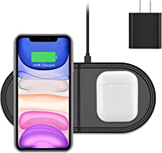 Hoidokly Dual 2 in 1 Wireless Charger 10W Qi Fast Charging Pad for iPhone 11/11 Pro/11 Pro Max/XS/XS Max/XR/X/8/8 Plus/Airpods 2 and Samsung Galaxy S10/S10e/S10+/S9/S9+/S8/S8+/S7/S6 edge +/Note 10/9/8
