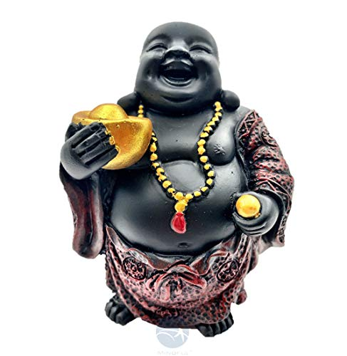 Mindful Maitreya Laughing Buddha Figurine with Red Ingot/Good Luck Statue/Home Decor