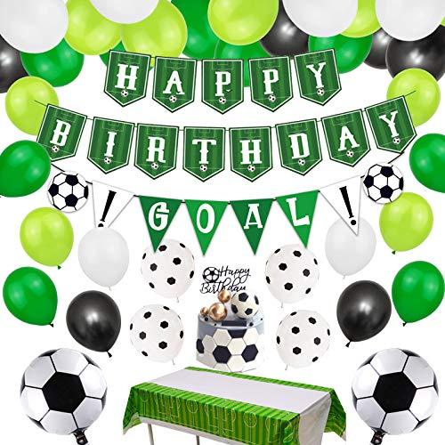 Fußball Party Zubehör Fußball Happy Birthday Banner und 75 Stück Fußball Thema Luftballons für Kinder, Jungen, Fußballfan-Geburtstagsfeier