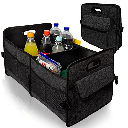 Oramics Kofferraum Organizer - 58 x 35 x 31 cm (LxBxH) - Aufbewahrungskorb, Einkaufskorb - Faltbare Autotasche, Kofferraumtasche in schwarz, Perfekt zum Einkaufen und als Aufbewahrungsbox (1 Stück)