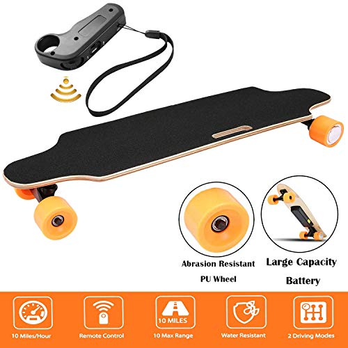 Aceshin Youth Electric Skateboard Electric Longboard 12 MPH Top Speed, 250W Motor,7 Layers Maple Motorized Longboard with Remote Control Gift for Adult Teens E-Skateboard (Orange)