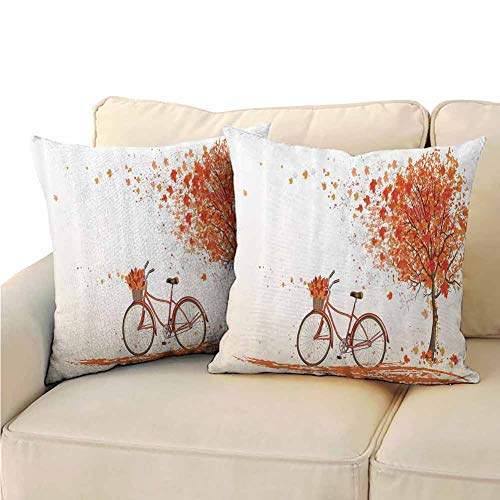 Pillowcase Printed Bicycle Decor Autumn Tree with Aged Old Bike and Fall Tree November Day Fall Season Park Nature Home Decor Soft and Breathable (2 PCS, 16x16 Inch) Orange