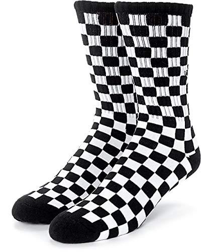 Vans Checkerboard Crew-Calcetines (Negro/Blanco, Grande/9.5-13)