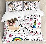 XOXUN Juego de Funda nórdica Cat de Unicornio, Estilo cómic Pop Art Fiction Animals Funny Faces Rainbow Horns Stars, Juego de Cama Decorativo de 3 Piezas con 2 Fundas de Almohada, Blanco Coral