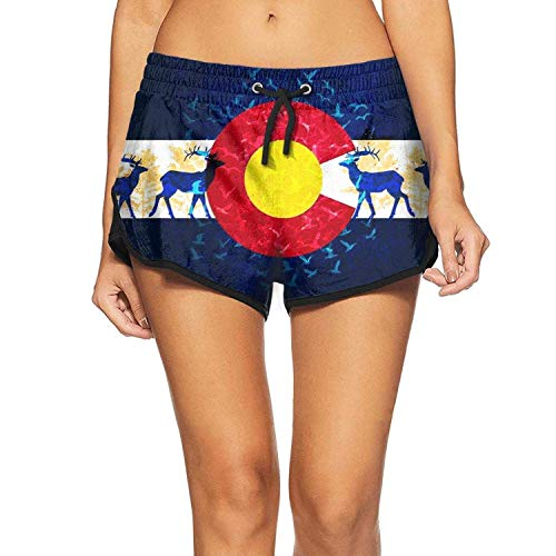 Colorado State Flag Poster Womens Swimming Trunks Solid Swim Shorts for Women Holiday Beach ShortsL