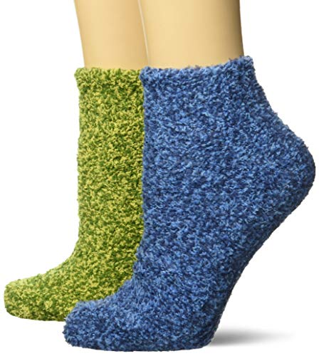 Dr. Scholl's Women's 2 Pack Soothing Spa Low Cut Lavender + Vitamin E Socks with Silicone Treads, Blue/Green, Shoe Size: 4-10