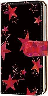 HUAWEI nova lite 3 (POT-LX2J) ケース 手帳型 カードタイプ [宇宙柄・レッド] 星柄 3D柄 流れ星 きらきら ノバライトスリー スマホケース 携帯カバー [FFANY] star-bk-138@03c